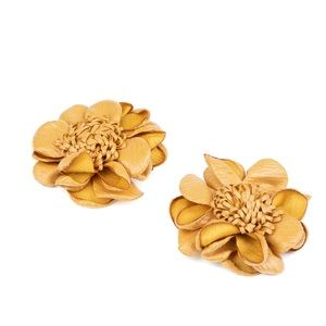 Golden Brown Floral Hair Clips NWT